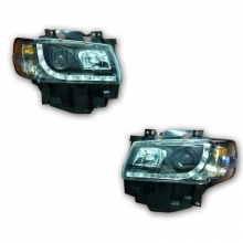VW T4 Long Nose Headlamp Set<br> Bulb Indicator Black
