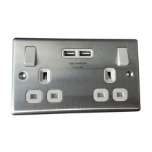 Brushed Steel 13amp SP Switched Double Socket with USB Charger